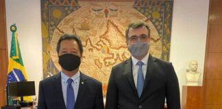 Luiz Nishimori (PL) esteve com o chanceler Carlos França
